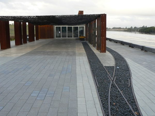 outdoor landscaping at armory wharf luxury canopy pergola