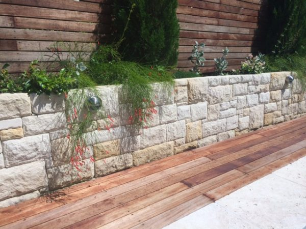 overhanging plants turn a retaining wall into a feature wall