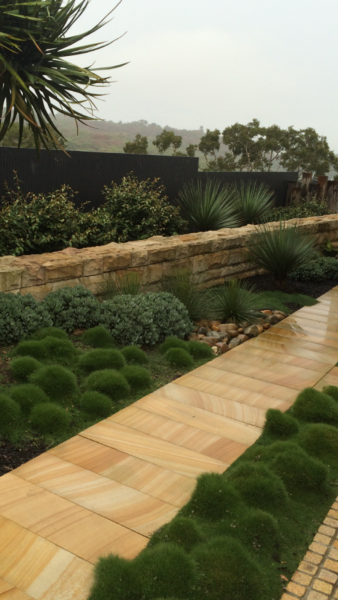 landscape design and construction with impressive sandstone flooring for path. As it leads through the garden, a sandstone wall to the side creates echoes with this beautiful natural material.