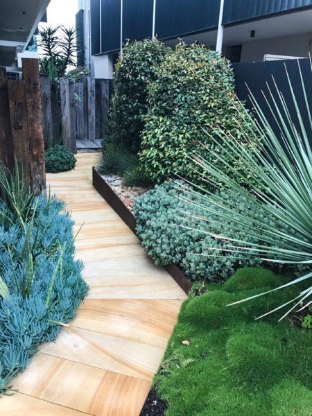 Beautiful Stone Pavement Pathway Landscaping through Outdoor Garden on the Central Coast