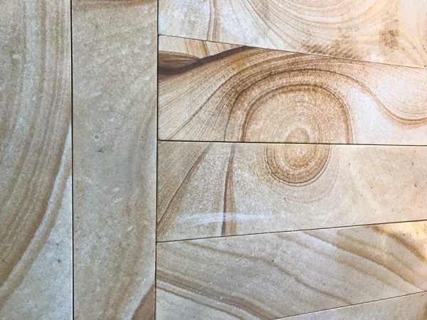 Unique Swirl Detail in Beautiful Stone Pavers used for outdoor landscaping on the Central Coast