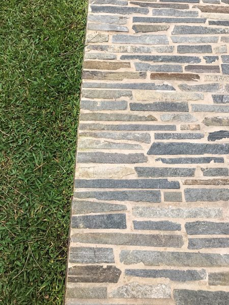 Detailed Interesting Stone Patterned Paving for outdoor settings, by landscapers Central Coast