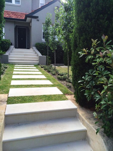 Elegant Contrast of Garden with Stone Pathway and Stairs, by Central Coast landscapers